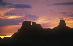 Chaco峡谷在日落,西北NM的印地安人废墟 免版税库存图片