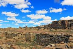 Chaco峡谷废墟  库存图片