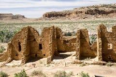 Chaco峡谷的家族Kletso镇废墟 免版税库存图片