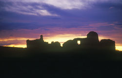 Chaco Canyon Indian ruins at sunset, northwestern NM Stock Photo