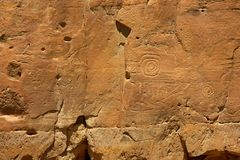 Chaco canyon petroglyphs Royalty Free Stock Photography