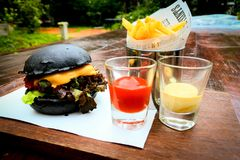 Chacoal francuza i hamburgeru dłoniaki obraz royalty free