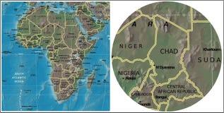 Chad της Κεντρικής Αφρικής και χάρτης της Αφρικής ελεύθερη απεικόνιση δικαιώματος