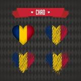 chad 四传染媒介心脏的汇集与旗子的 心脏剪影 向量例证
