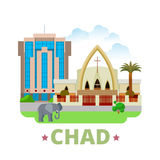 Chad country design template Flat cartoon style we Stock Image