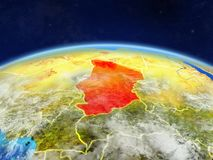 Chad on Earth from space. Chad on planet Earth with country borders and highly detailed planet surface and clouds. 3D illustration. Elements of this image stock photo