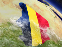 Chad with embedded flag on Earth Royalty Free Stock Photos
