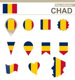 Chad Flag Collection royaltyfri illustrationer