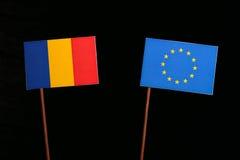 Chad flag with European Union EU flag isolated on black. Background Royalty Free Stock Photos