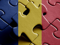 Chad FLAG PAINTED ON PUZZLE nice Royalty Free Stock Images