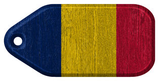 Chad flag. Painted on wooden tag royalty free stock photography