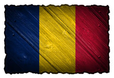 Chad flag. Painted on wooden tag stock images