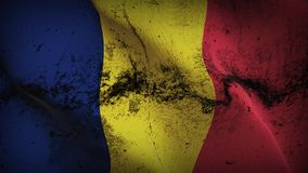 Chad grunge dirty flag waving on wind. Chadian background fullscreen grease flag blowing on wind. Realistic filth fabric texture on windy day Royalty Free Stock Photography