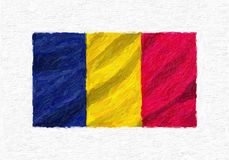 Chad hand painted waving national flag. vector illustration