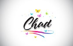 Chad Handwritten Vetora Word Text com borboletas e Swoosh colorido ilustração royalty free