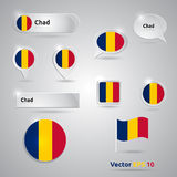 Chad icon set of flags Royalty Free Stock Photos