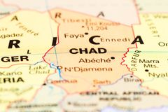 Chad on a map. Close up of the country of Chad on a World map stock image