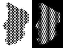 Chad Map Hex-Tile Abstraction ilustração do vetor