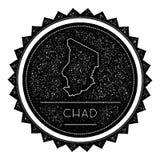 Chad Map Label con diseño diseñado vintage retro Stock de ilustración