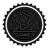 Chad Map Label met Retro Wijnoogst Gestileerd Ontwerp stock illustratie