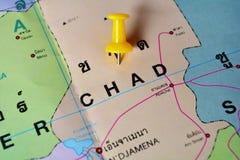 Chad map. Macro shot of chad map with push pin royalty free stock photography