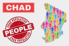 Chad Map Population Demographics e selo do Grunge ilustração royalty free