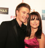 Chad Michael Murray and Sophia Bush. Chad Michael Murray and Sophia attend the midnight premiere of House of Wax.  The red carpet event was a highlight of the Stock Photo