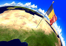 Chad national flag marking the country location on world map. 3D render of the national flag of Chad over the geographic location of the country on a world map Stock Photos