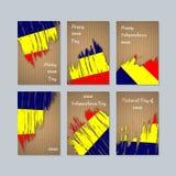 Chad Patriotic Cards für Nationaltag lizenzfreie abbildung