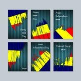 Chad Patriotic Cards para el día nacional stock de ilustración