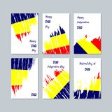 Chad Patriotic Cards para o dia nacional Curso expressivo da escova em cores da bandeira nacional no fundo branco do cartão Chad  ilustração royalty free