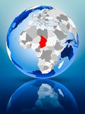 Chad on globe. Chad on political globe standing on reflective surface. 3D illustration stock photos