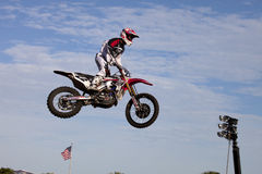 Chad Reed (22). Jumping at the Daytona Supercross race. Copy space , can be cropped many ways stock image