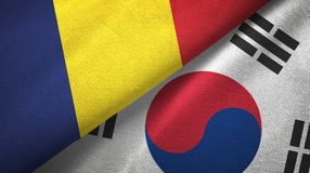 Chad and South Korea two flags textile cloth, fabric texture. Chad and South Korea flags together textile cloth, fabric texture royalty free stock image