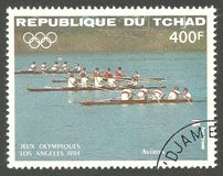 Los Angeles Summer Olympics, Team competition. Chad - stamp printed 1984, Multicolor Edition with offset printing, Topic Water Sports at the Olympics, Series Royalty Free Stock Photography