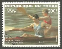 Los Angeles Summer Olympics, Event. Chad - stamp printed 1984, Multicolor Edition with offset printing, Topic Water Sports at the Olympics, Series 1984 Los Stock Photography