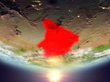 Chad with sun. Chad during sunrise highlighted in red on planet Earth with clouds. 3D illustration. Elements of this image furnished by NASA royalty free stock photo