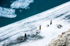Chadar艰苦跋涉 zanskar冻结的河 Leh拉达克 印度 图库摄影