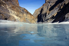 Chadar trek and frozen river Stock Photo