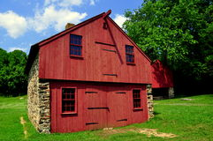 Chadds Ford, PA: Barn at Gideon Gilpin House. Chadds Ford, Pennsylvania:  Fieldstone and wooden barns at the Gideon Gilpin House in Brandywine Battlefield Stock Photo