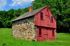 Chadds Ford, PA: Barn at Gideon Gilpin House. Chadds Ford, Pennsylvania:  Fieldstone and wooden work shed at the Gideon Gilpin House in the historic Stock Images
