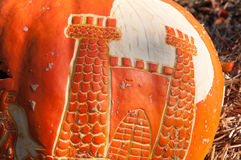 CHADDS FORD, PA - OCTOBER 26: Castle Pumpkin at The Great Pumpkin Carve carving contest on October 26, 2013. CHADDS FORD, PA - OCTOBER 26: View of Castle Pumpkin royalty free stock photo