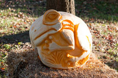 CHADDS FORD, PA - OCTOBER 26: Tree Frog Pumpkin at The Great Pumpkin Carve carving contest on October 26, 2013 Stock Photos