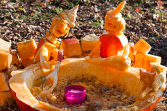 CHADDS FORD, PA - OCTOBER 26: Witch Caldron Pumpkin at The Great Pumpkin Carve carving contest on October 26, 2013. CHADDS FORD, PA - OCTOBER 26: View of Witch stock image