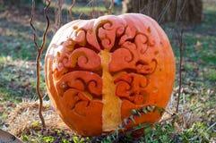CHADDS FORD, PA - 26. OKTOBER: Baum-Kürbis am großen Kürbis Carve Wettbewerb am 26. Oktober 2013 schnitzend stockbilder