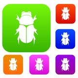 Chafer beetle set collection. Chafer beetle set icon in different colors isolated vector illustration. Premium collection vector illustration