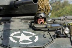 Chaffee Tank e squadra leggeri americani fotografia stock