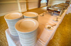 Chafing Dish glass plates  at buffet Stock Photos