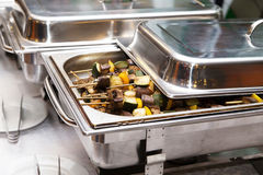 Chafing dish heater at banquet stock photo
