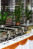 Chafing dish heaters. At the banquet table Stock Images